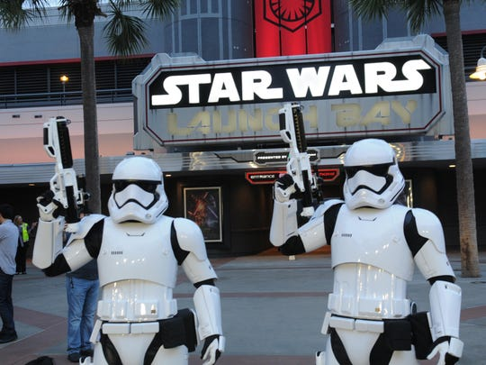 Two stormtroopers guard the entrance to the new Launch Bay attraction at Disney's Hollywood Studios.
