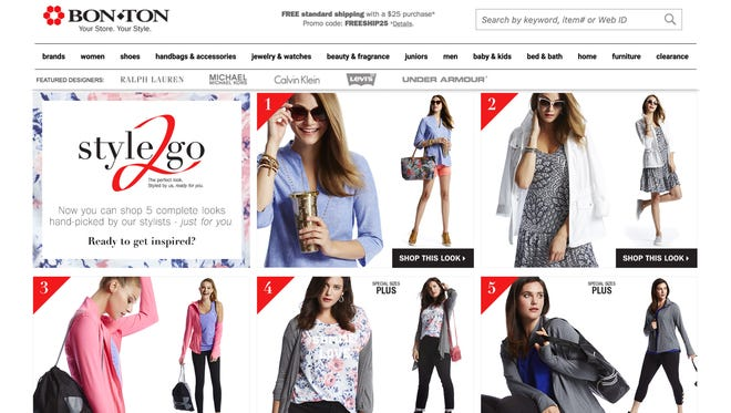 Bon-Ton Stores Inc. is hoping online customers will return to its website each Friday to check out five new outfits its stylists have put together. This is a screen grab from the Bon-Ton website.