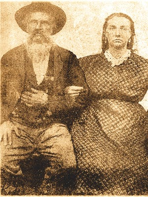 John Wesley and Lydia Clotilda Messick's wedding picture in 1866.
