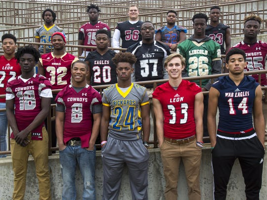 The 2016 All-Big Bend football first-team defense. Bottom row, from left: Travis Jay (Madison County), Tinarus Irvine (Madison County), Tavyn Jackson (Rickards), Jack Driggers (Leon), Chris Beverly (Wakulla); Middle row, from left: Henry Segura III (Leon), Cam Brown (Florida High), Jay Harrison (NFC), Randall Jones (West Gadsden), Stephan Pierre (Lincoln), Johnathon Alexander (Madison County); Back row, from left: Deandre Glover (Rickards), Defensive Player of the Year Kelvin Kegler (Madison County), Connor Hansen (Chiles), Victor Conde (Taylor County), Amari Gainer (Chiles). Not pictured: Michael Scott (NFC), Justin Cruise (Rickards), Kean Thomas (Godby), Marquel Pittman (Lincoln).