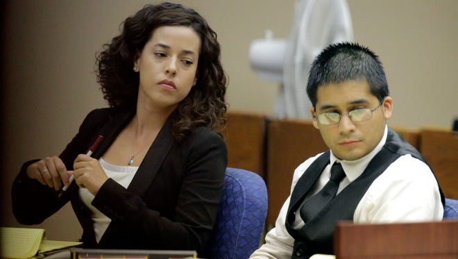 Former Eastwood High School teacher Christopher Miranda, 26, sits with attorney Daniela Chisolm during his trial Wednesday. He is accused of sexually assaulting three teen girls, according to testimony. He was found guilty Thursday on two counts of improper relationship between a student and educator, one count of sexual assault of a child and one count of sexual performance by a child.