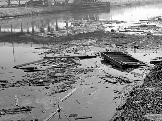 This 1968 photo shows a polluted Milwaukee River, which
