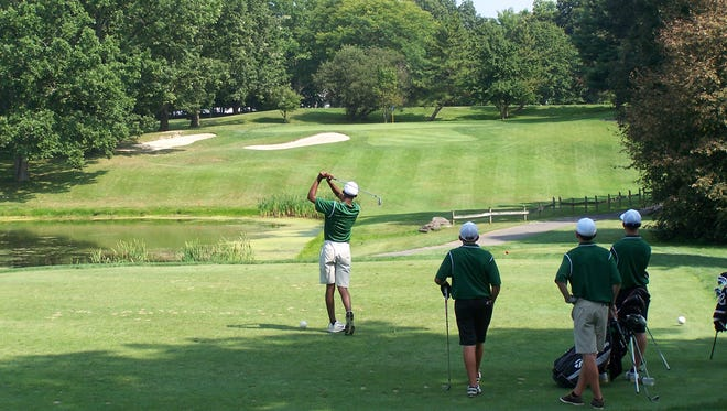 Spackenkill's Stanley Garrant tees off on the picturesque par-3 fifth hole at McCann Memorial Golf Course on Wednesday.