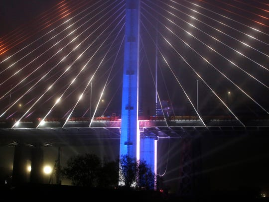 LED lights illuminate the new Kosciuszko Bridge span