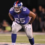 Giants left tackle Will Beatty (above) will be facing former teammate Osi Umenyiora on Sunday.