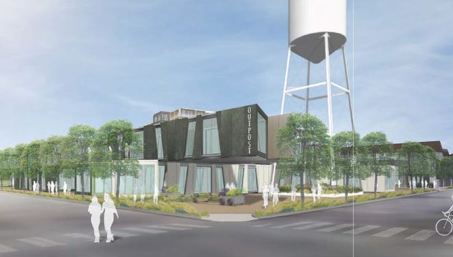 The iconic water tower at the corner of Fourth and Chestnut is expected to be integrated into plaza spaces.