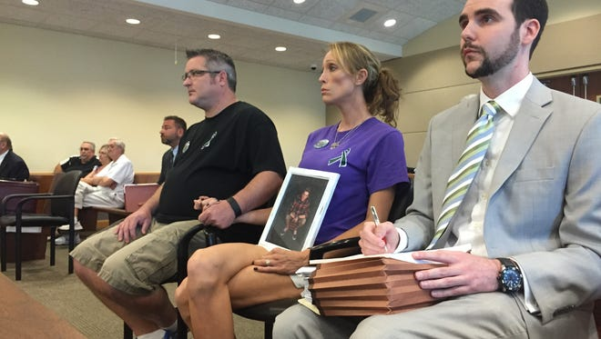The parents of Austin Dukette attend the hearing of Lee County Sheriff's deputy  Douglas Hood.