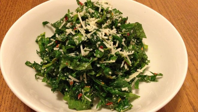 The Tuscan Kale Salad from True Food Kitchen, minus the breadcrumbs.
