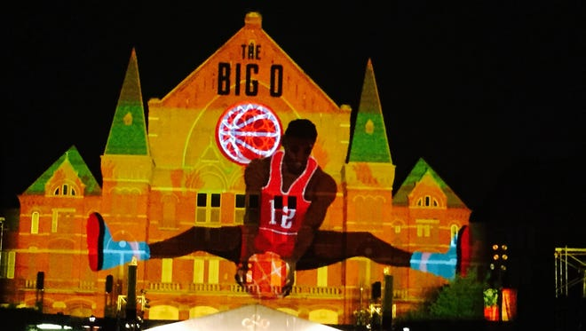 An homage to Oscar Robertson is projected during Lumenocity 2015.