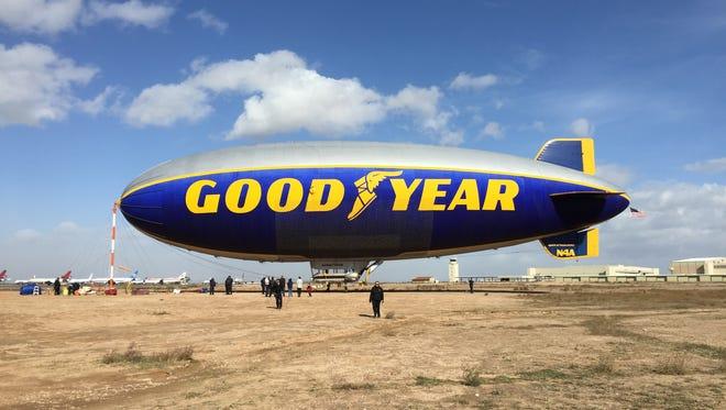 "The ""Spirit of Innovation,"" one of the Goodyear blimp fleet, visits Phoenix Goodyear Airport, Nov. 16, 2015."