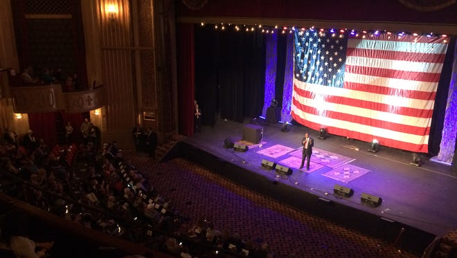 Ben Carson speaks to a crowd exceeding 1,500 in Sioux City on Saturday.