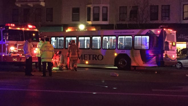 A Metro bus hit two pedestrians in Hyde Park Wednesday, leaving one man dead.