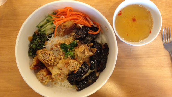 The bun bo la lot — a lot of food and flavors in one bowl.