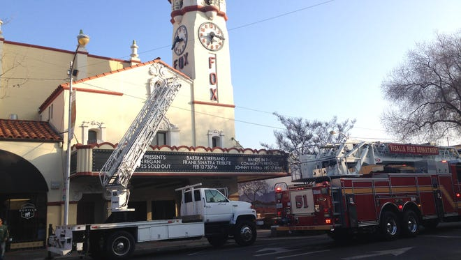 A man fell from a ladder just after 7:30 a.m. Tuesday while doing maintenance on the Fox Theatre in downtown Visalia.