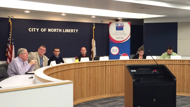 From left to right: State lawmakers Bob Dvorsky, Kevin Kinney, Joe Bolkcom, Dave Jacoby, Mary Mascher and Bobby Kaufmann gathered for a legislative forum in North Liberty on Saturday, March 26, 2016.
