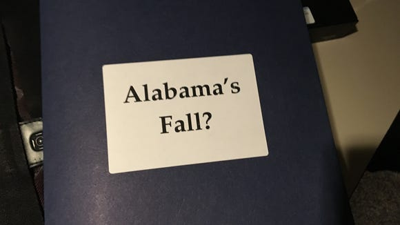 Folder distributed on Alabama House members' desks before the chamber assembled on Aug. 25, 2016.