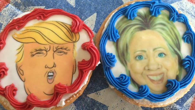 Uncle Mike's Bake Shoppe in Ledgeview and Suamico is having some fun with the presidential election with its Donald Trump and Hillary Clinton cookies.