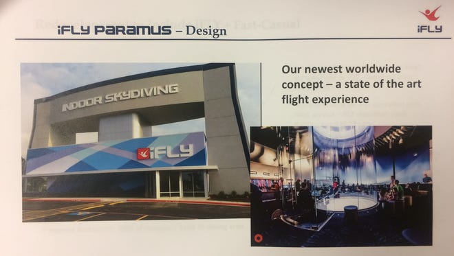A handout of a presentation by iFly Indoor Skydiving during a Paramus Board of Adjustment meeting on Thursday. Sky Group Investments has filed an application with the borough to construct an iFly Indoor Skydiving facility and fast-casual restaurant at the site of the long-vacant Forum Diner.