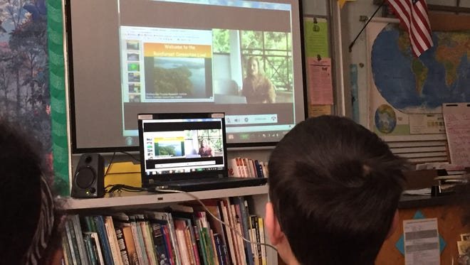 Dr. Katrina Macht taught her sixth-grade students at Hillside Middle School from about 4,440 miles away at the field station on Barro Colorado Island (BCI), Panama. During her stay at the field station, which is operated by the Smithsonian Tropical Research Institute, Macht ran several real-time interactive video broadcasts, teaching her students about life on BCI and the research being conducted.