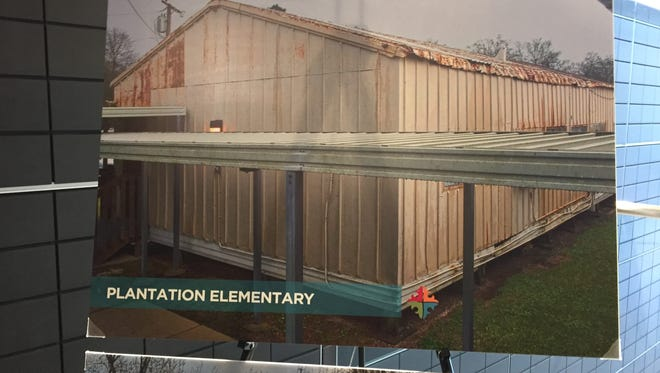 This display shows a temporary classroom building at Plantation Elementary. If a new sales tax passes, it would fund the construction of new buildings to replace structures such as this.