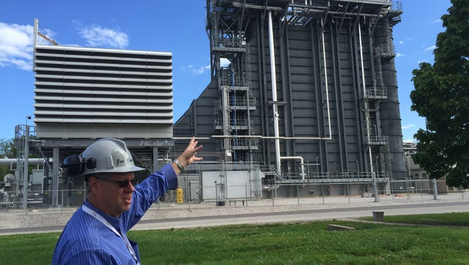 Joe Castrale, senior general manager of SABIC Mount Vernon, shows the company's new $180 million CoGen power facility.