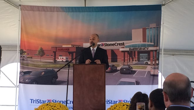 StoneCrest CEO Lou Caputo talks about the need for an expansion at the Smyrna hospital during a Tuesday morning ceremony.