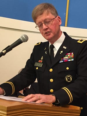 "Col. Rodney K. Miller, a retired Army chaplain and United Methodist minister, talked about ""Those Who Answered the Call"" to duty during a Veterans Day Memorial Service Sunday at the Historic Letterkenny Chapel and Franklin County Veterans and 9/11 Memorial Park."