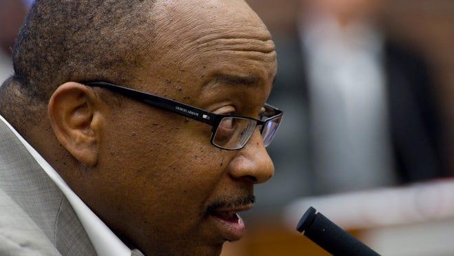 Rev. Adrian Brooks addressing City Council. Photo taken August 26, 2013.