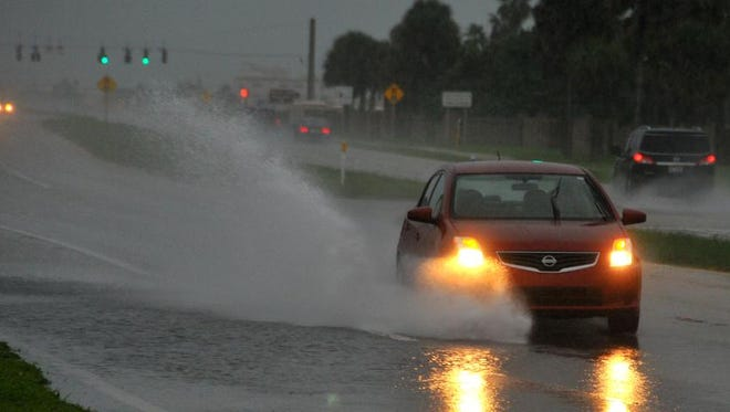 A rainy ovecast Thursday morning made driving tough for some drivers on A1A by Patrick Air Force Base.