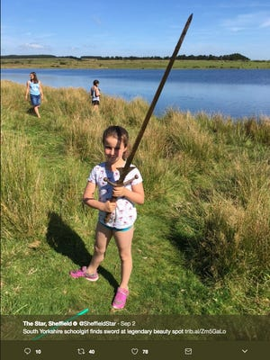 Matilda poses with her sword in a photo tweeted by the the Sheffield Star.