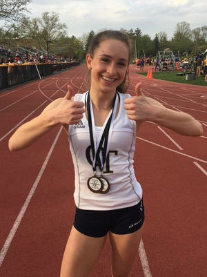 NV/Old Tappan's Taylor Newman celebrating her twins in the 100 and 400 at the Big North National championships on Friday, May 4, 2018 at Ridgewood.