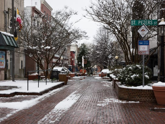 A view of downtown Salisbury after a light snowfall