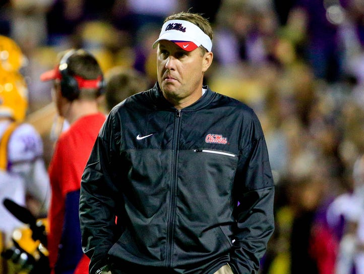 Mississippi Rebels head coach Hugh Freeze before a