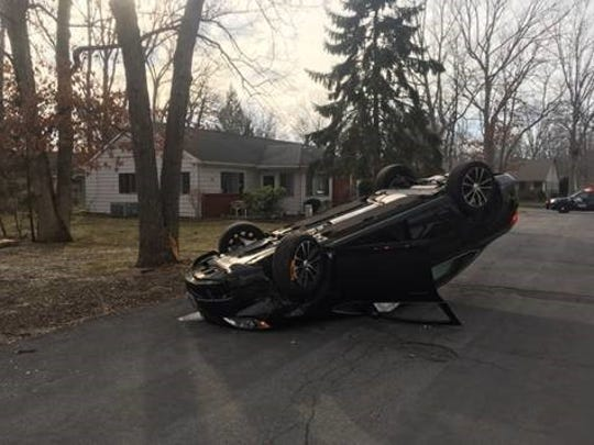 A 2016 Buick Verano hit a tree and flipped over on Quail Street in Whiting Feb. 28, police said.