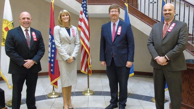 Featured executive speakers at the recent Arkansas FBI media meeting (from left) DEA Little Rock Assistant Special Agent in Charge Justin King, FBI Little Rock Special Agent in Charge Diane Upchurch, Arkansas Department of Education Secretary Johnny Key, and State of Arkansas Drug Director Kirk Lane.