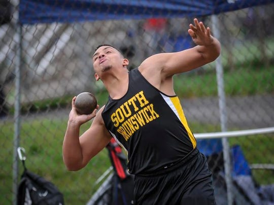 South Brunswick's Sayvon Jarrett competes in the shot put during the Raider Relays on Saturday at Hillsborough.