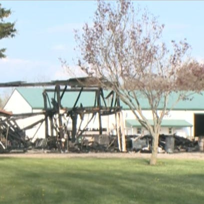 Large garage destroyed by flames in Lorain County