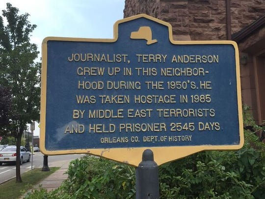 A historical marker in Albion that notes Terry Anderson grew up in that Orleans County community.
