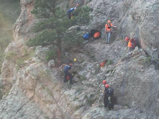 Poudre Fire Authority, Larimer County Search and Rescue, sheriff's office deputies, parks crews and Poudre Valley Hospital EMS collaborated to rescue a man near Horsetooth Falls on Thursday.