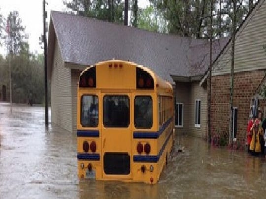 Many school buses in south Louisiana are flooded.