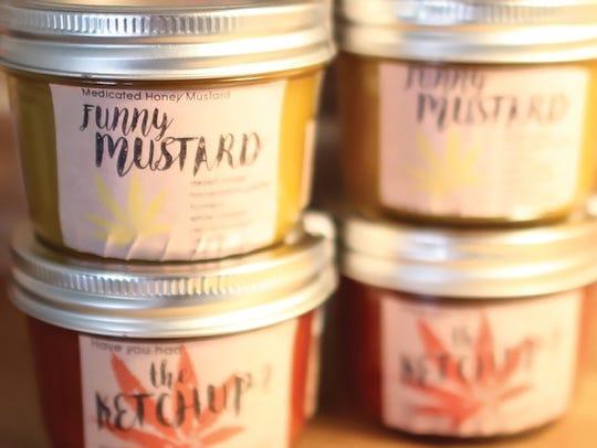 Flourish's edible mustard and ketchup products.