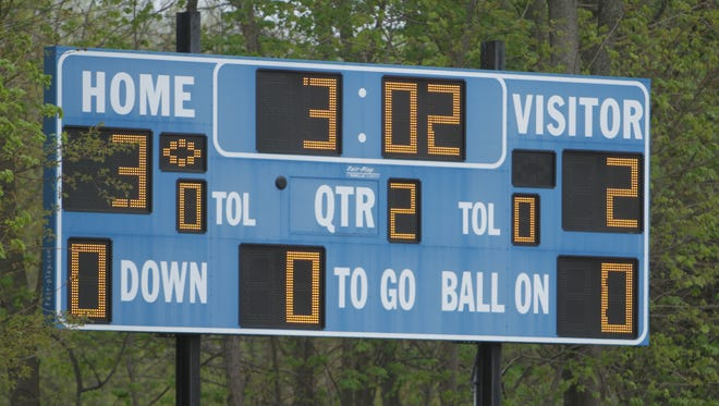 The scoreboard at Blind Brook High School on Thursday, April 28th, 2016.