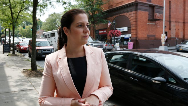 Republican Congressional candidate Elise Stefanik tours the business district in Ballston Spa, N.Y., on Wednesday, Aug. 27, 2014. Stefanik is running for a House seat in northern New York. (AP Photo/Mike Groll) ORG XMIT: NYMG204