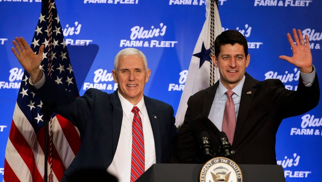 Vice President Mike Pence appeared in Janesville Friday with House Speaker Paul Ryan to push for a Republican plan to replace Obamacare.