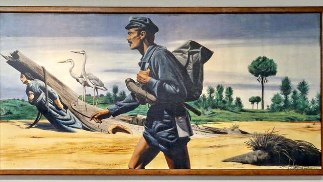 The Barefoot Mailman route is depicted on a panel of the mural in the lobby of the U.S. Post Office on Summit Boulevard in suburban West Palm Beach in 2015. The mural consists of six panels in total. The route ended in January 1893.