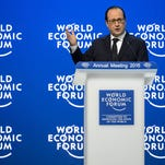 French President Francois Hollande delivers a speech on Jan. 23 at the World Economic Forum in Davos.