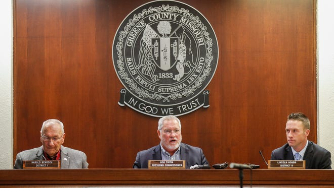 Greene County Commissioners, from left, Harold Bengsch, Bob Cirtin, and Lincoln Hough.
