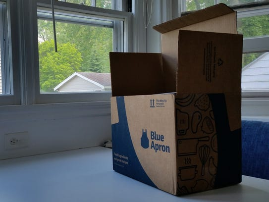 A Blue Apron box starts at $59.94 a week for the two-person