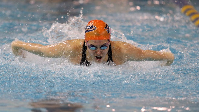 Mountain Lakes Sarah Scelsa in the 100 butterfly vs. Haddonfield at the College of New Jersey. The Lakes winning the NJSIAA Public C girls swimming final 93-77. February 20, 2016. Ewing Twp., N.J.