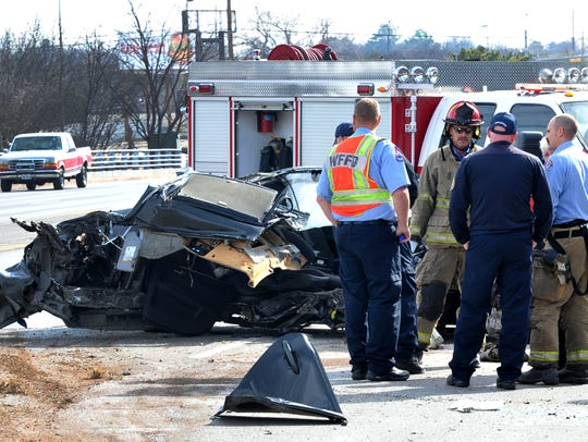 Wichita Falls police work the scene of a fatal accident